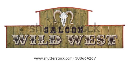 Wild west saloon signboard on wooden board with sheep skull. - stock photo