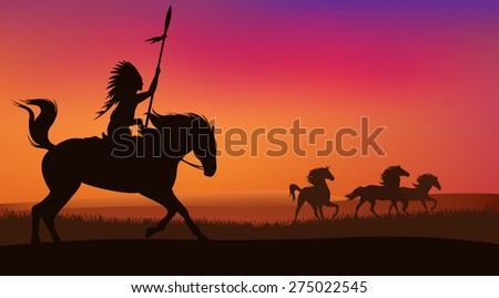 wild west scene with horses and native american rider -  landscape with silhouettes - stock photo