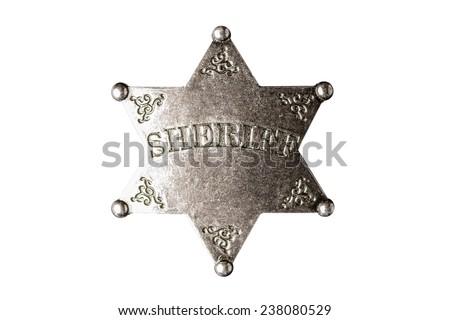 Wild West Sheriff badge isolated on white background. - stock photo