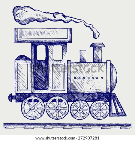 Wild West steam locomotive. Toy train. Doodle style. Raster version - stock photo