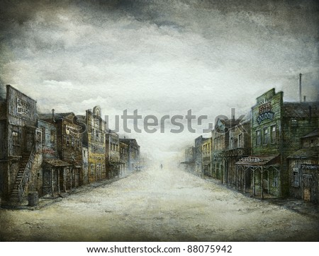 Wild West Town, acrylic on paper - stock photo
