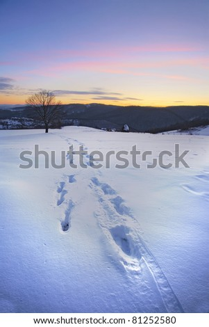 Wild winter nature of Central Serbia. Mountains Ovcar and Kablar during winter season.