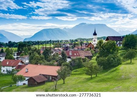 Wildermieming town in Sonnenplateau, western Innsbruck, Austria - stock photo