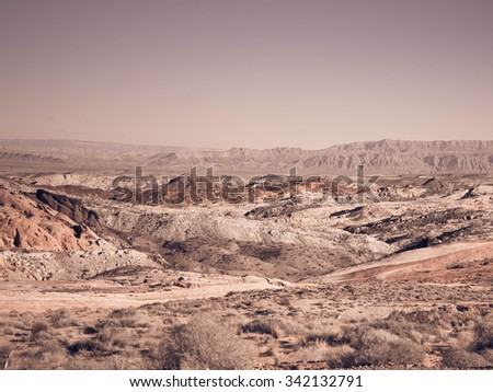 Wilderness and desert area in the desert of Valley of Fire state park near Las Vegas, Nevada - stock photo