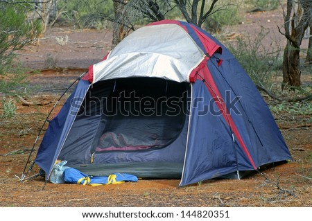 wilderness camping in the Australian desert - stock photo