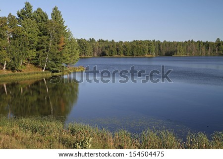 Wilderness lake in bright sunlight with cloudless blue sky  - stock photo