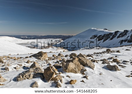 Wilderness mountain terrain with boulders in the State Nature Reserve in Adygea, Russia.