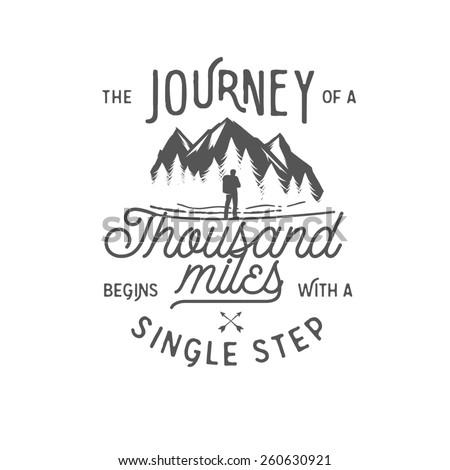 Wilderness quote typographic emblem - stock photo