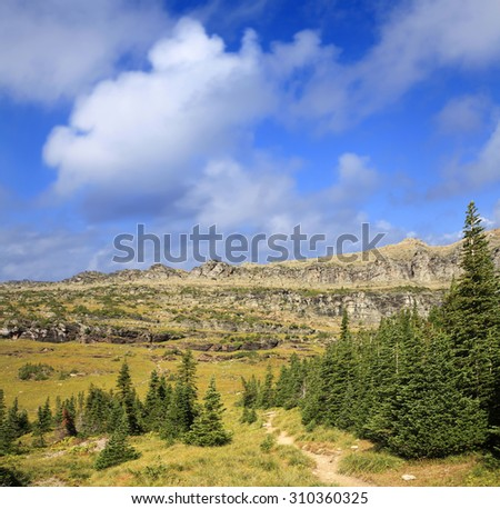 Wilderness Trail in Glacier National Park, Wyoming - stock photo