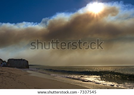 Wildfire clouds over the Pacific ocean. Malibu wildfires 2007