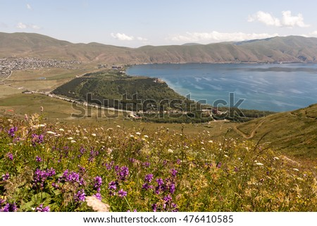 Wildflowers and mountain lake in Armenia