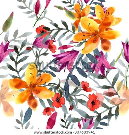 Wildflowers blooming delicate flowers background painted  watercolors. Raster illustration - stock photo