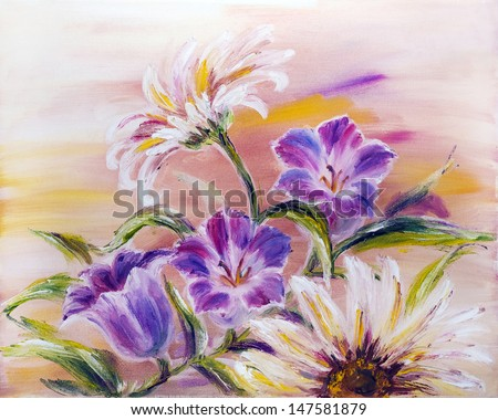 Wildflowers, oil painting on canvas - stock photo
