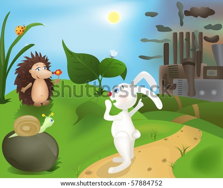 Wildlife and industry (raster version). - stock photo