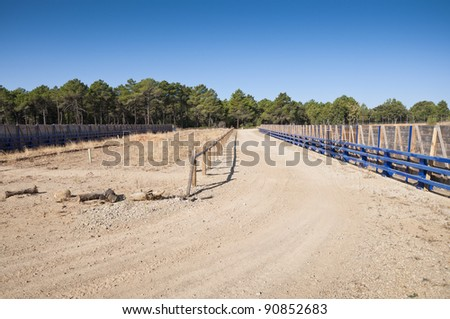Wildlife crossing. They are structures that allow animals cross human-made barriers safley. Picture taken in A-15 motorway, Soria, Spain - stock photo