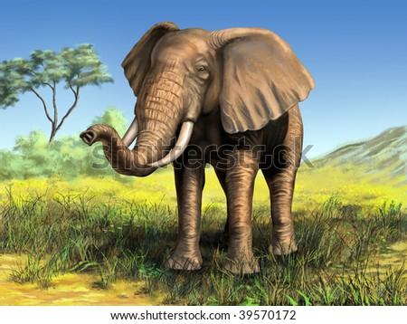 Wildlife: elephant in its native african environment. Digital illustration. - stock photo