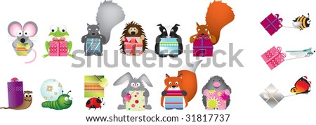 wildlife set holding gifts or presents - stock photo