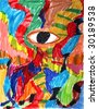Wildly Colorful Abstract Drawing with Eye by a Genuine Ten-Year-Old-Kid Artist. - stock photo