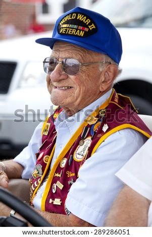 Wildwood, New Jersey, USA - June 20, 2015: War Hero and POW of World War II at Veterans of Foreign Wars (VFW) annual parade in Wildwood, New Jersey on June 20, 2015. - stock photo