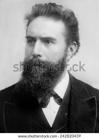 Wilhelm Roentgen (1845-1923), German physicist, received the first Nobel Prize for Physics, in 1901, for his discovery of X-rays in 1895. - stock photo