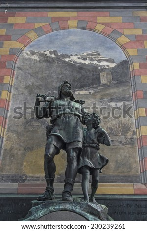 Wilhelm Tell monument in the square of the cantonal capital of Altdorf in the Canton of Uri - stock photo