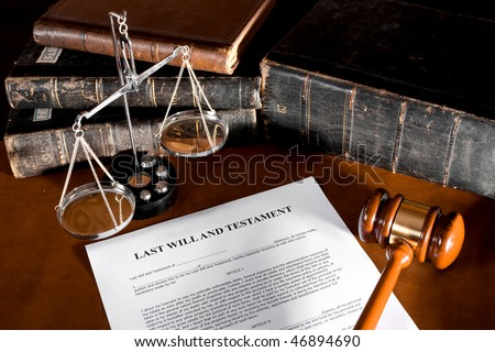 Will concept Scale, old book, and gavel - stock photo