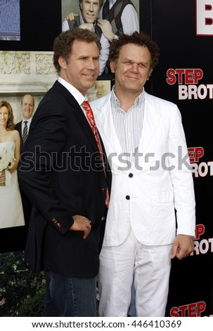 Will Ferrell and John C. Reilly at the Los Angeles premiere of 'Step Brothers' held at the Mann Village Theatre in Westwood, USA on July 15, 2008. - stock photo