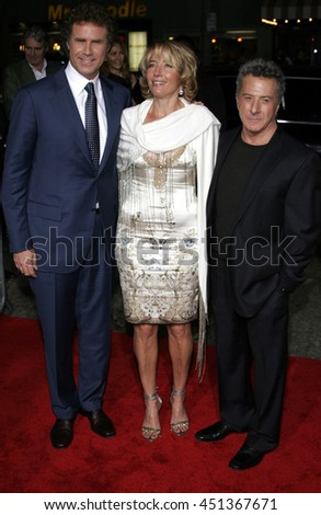 Will Ferrell, Dustin Hoffman and Emma Thompson at the Los Angeles premiere of 'Stranger Than Fiction' held at the Mann Village Theatre in Westwood, USA on October 30, 2006.  - stock photo