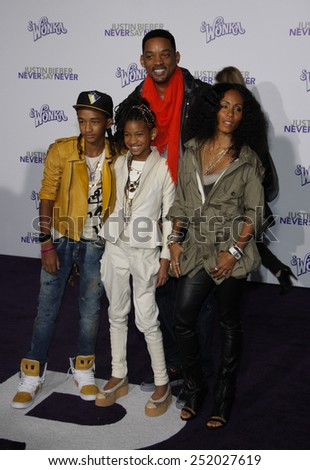 "Will, Jada Pinket, Jaden and Willow Smith at the Los Angeles Premiere of ""Justin Bieber: Never Say Never"" held at the Nokia Theatre L.A. Live in Los Angeles, United States on February 8, 2011.  - stock photo"