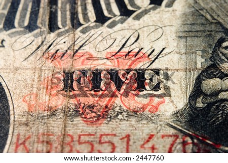 Will pay five antique note - stock photo