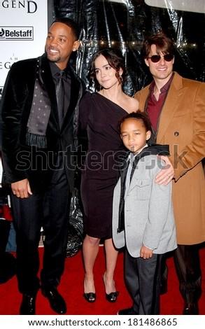 Will Smith, Alice Braga, Tom Cruise, Jaden Smith at Premiere of I AM LEGEND, WAMU Theatre at Madison Square Garden, New York, NY, December 11, 2007 - stock photo