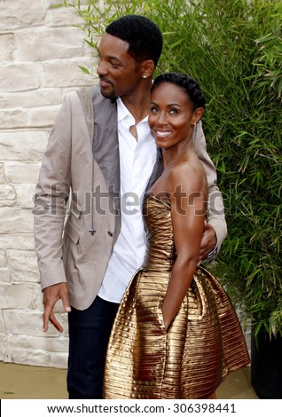 Will Smith and Jada Pinkett Smith at the Los Angeles premiere of 'The Karate Kid' held at the Mann Village Theater in Westwood, USA on June 7, 2010. - stock photo