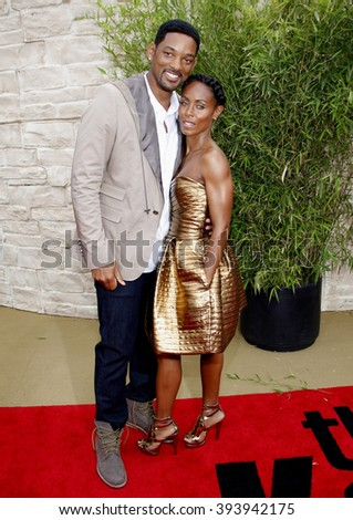 """Will Smith and Jada Pinkett Smith at the Los Angeles Premiere of """"The Karate Kid"""" held at the Mann Village Theater in Westwood, USA on June 7, 2010. - stock photo"""