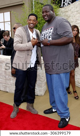 Will Smith and Quinton Aaron at the Los Angeles premiere of 'The Karate Kid' held at the Mann Village Theater in Westwood, USA on June 7, 2010. - stock photo