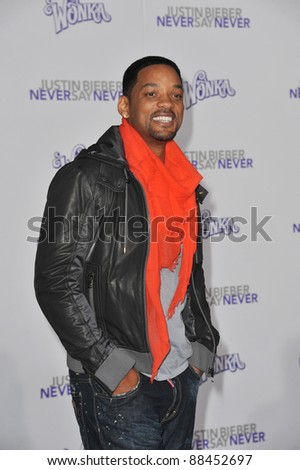 "Will Smith at the Los Angeles premiere of ""Justin Bieber: Never Say Never"" at the Nokia Theatre LA Live. February 8, 2011  Los Angeles, CA Picture: Paul Smith / Featureflash - stock photo"
