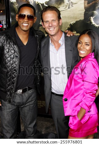 "Will Smith, Peter Berg and Jada Pinkett Smith attend the Los Angeles Premiere of ""The Kingdom"" held at the Mann Village Theater in Westwood, California, United States on September 17, 2007."