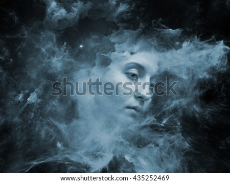 Will Universe Remember Me series. Interplay of human face and fractal smoke nebula on the subject of human mind, imagination, memory and dreams - stock photo