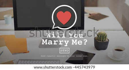 Will You Marry Me Valentine Romance Love Heart Dating Concept - stock photo