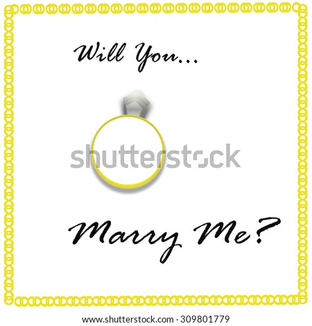 Will You Marry Me With Diamond Ring on White