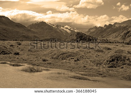 Willderness Glacial landscape in Patagonia, sepia toning