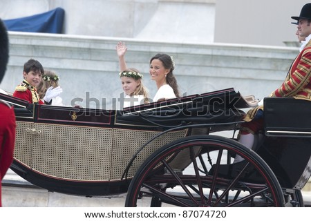 William Lowther-Pinkerton, Lady Louise Windsor and Pippa Middleton return to Buckingham Palace the wedding ceremony of William and Kate, London. on 29/04/2011. Picture by: Steve Vas / Featureflash - stock photo