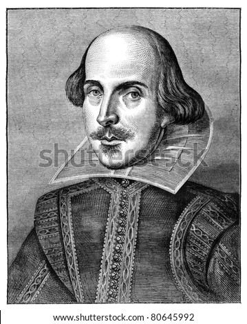 William Shakespeare, English poet and playwright. Engraving from The Leisure Hour Magazine april 1864. - stock photo