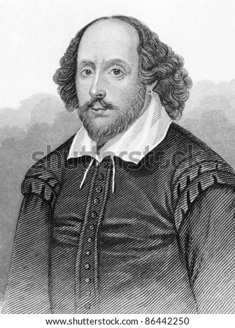 William Shakespeare (1564-1616). Engraved by anonymous engraver and published in Dugdale's England and Wales Delineated, United Kigndom, 1848. - stock photo