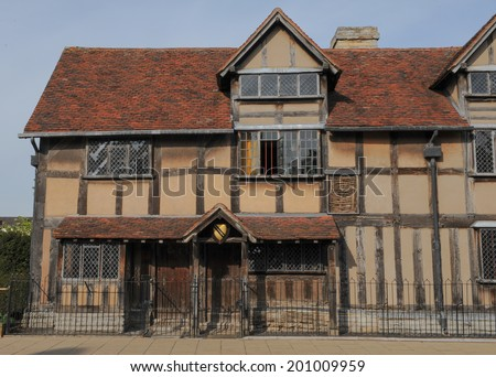 William Shakespeare's Birthplace on Henley Street in Stratford upon Avon, Warwickshire, England, UK - stock photo
