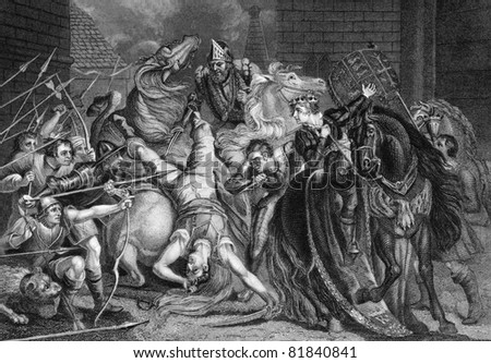 William Walworth Lord Mayor of London Killing Wat Tyler in Smithfiled in 1381. Engraved by J.Rogers and published in The National and Domestic History of England, United Kingdom, 1890. - stock photo
