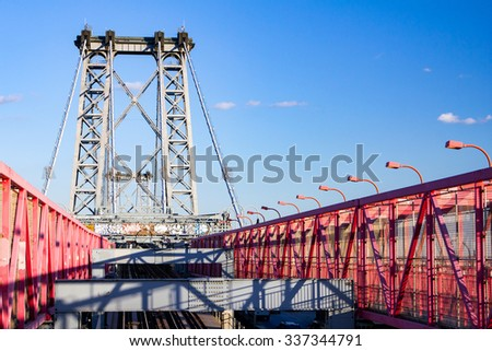 Williamsburg Bridge between Manhattan and Brooklyn in New York City - stock photo