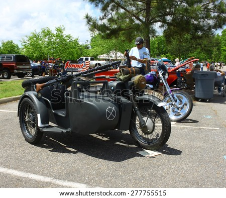 WILLIAMSBURG, VA - May 9, 2015: A 1939 BMW R79 motorcycle side car and machine gun at the 6th Annual Project Lifesaver Car Show in Williamsburg Virginia on a summer day. - stock photo