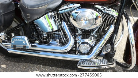 WILLIAMSBURG, VA - May 9, 2015: A Custom 1971 Harley Davidson fat boy engine at the 6th Annual Project Lifesaver Car Show in Williamsburg Virginia on a summer day.  - stock photo