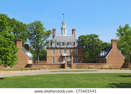 WILLIAMSBURG, VIRGINIA - APRIL 21 2012: The Governors Palace Building in Colonial Williamsburg, Virginia. The building dates from 1722 and was home to seven royal governors of the Virginia colonies.