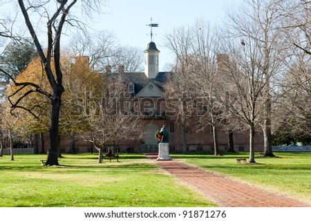 WILLIAMSBURG, VIRGINIA - DECEMBER 30: Statue in front of William and Mary College on December 30, 2011. The college was chartered in 1693 in Williamsburg. - stock photo
